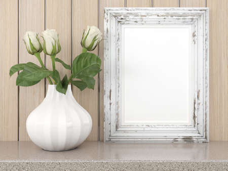 blank photo: Empty modern style frame on composition wall as concept