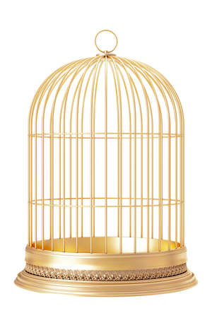 Golden bird cage  on white background 3d render Stok Fotoğraf