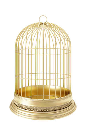 break out of prison: Golden bird cage  on white background 3d render Stock Photo