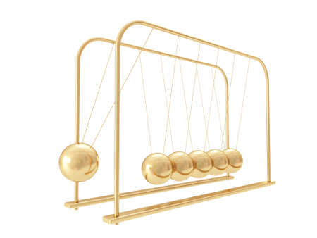 newtons cradle: Golden Balancing Balls Newtons Cradle isolated on white background Stock Photo