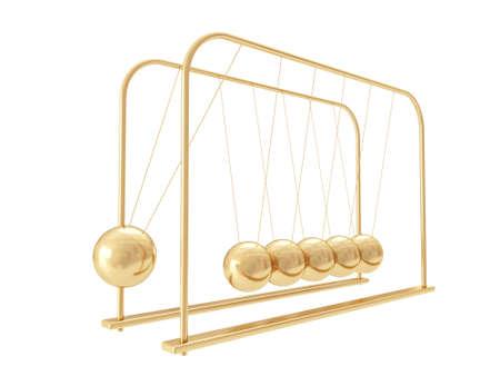 organized group: Golden Balancing Balls Newtons Cradle isolated on white background Stock Photo