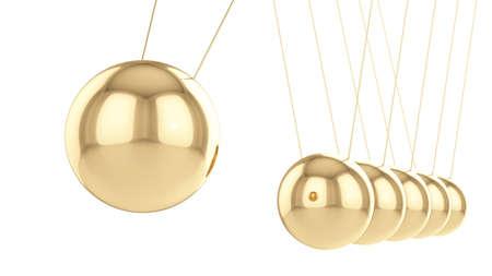 Goldene Balancing Bälle Newtons Wiege auf weißem Hintergrund
