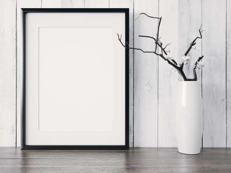 Empty modern style frame on composition wall as concept Stok Fotoğraf - 53304796