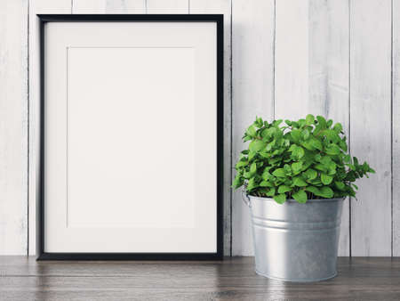 Empty modern style frame on composition wall as concept Reklamní fotografie - 53304553