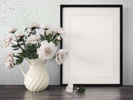 Lege moderne stijl frame op samenstelling muur als concept Stockfoto