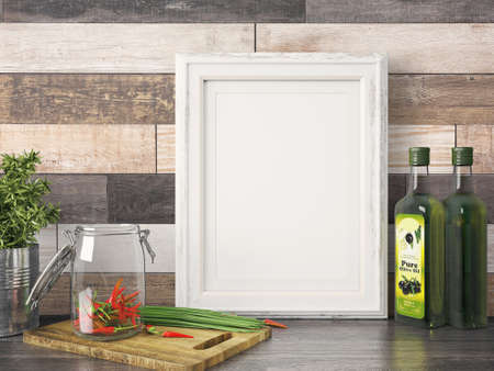 Empty modern style frame on composition wall as concept Stok Fotoğraf - 53304424