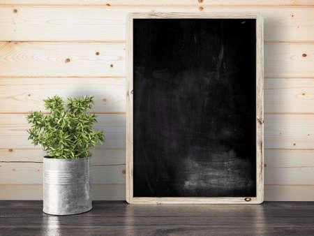 概念の 3 D レンダリング、合成壁の空の黒い黒板