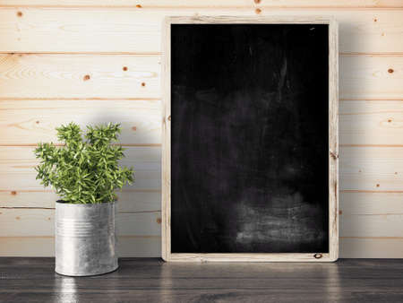 Empty black chalkboard on composition wall as concept 3D render Stok Fotoğraf