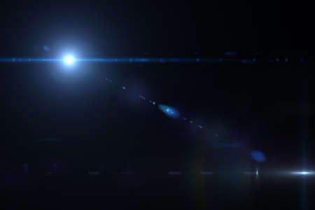Lens flare effect in space 3D render