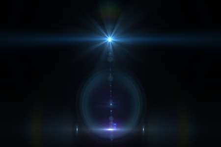light ray: Lens flare effect in space 3D render