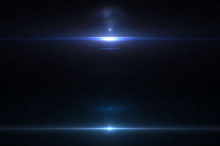 ray of light: Lens flare effect in space 3D render