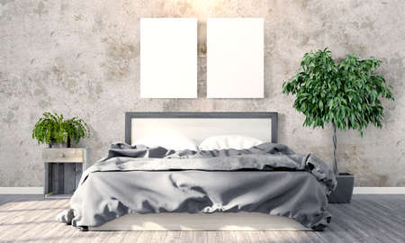 blank space: Bright interior with frame in a modern style . 3D render Stock Photo
