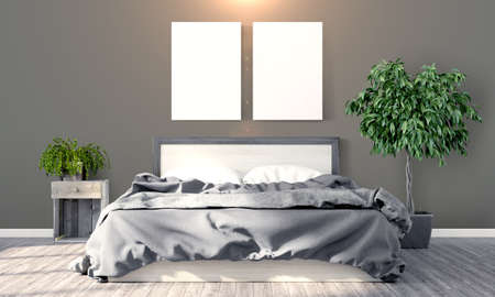 poster bed: Bright interior with frame in a modern style . 3D render Stock Photo