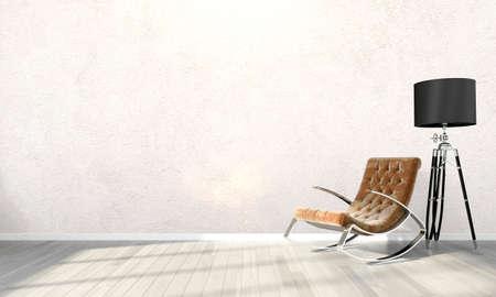 Jasne wnętrza w nowoczesnym stylu. 3D render