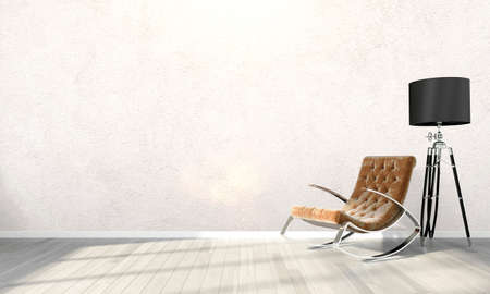 Licht interieur in een moderne stijl. 3D render