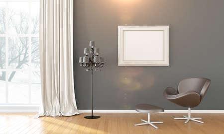 Interior brillante con marco en un estilo moderno. 3D render