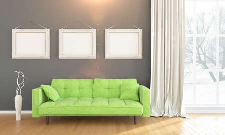 living style: Bright interior with frame in a modern style . 3D render Stock Photo