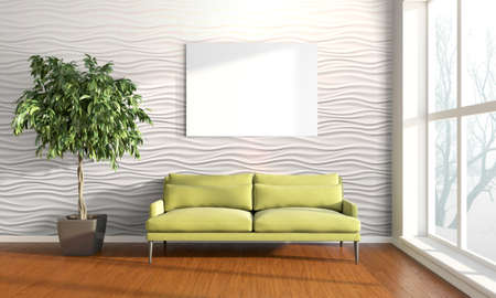 Bright interior with frame in a modern style . 3D render Stok Fotoğraf