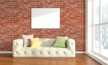Bright interior with frame in a modern style . 3D render Stock Photo