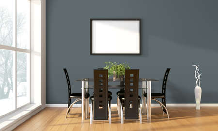 blank photo: Bright interior with frame in a modern style . 3D render Stock Photo
