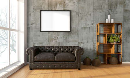 modern sofa: Bright interior with frame in a modern style . 3D render Stock Photo