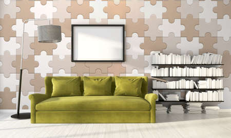 wall paintings: Bright interior  in a modern style . 3D rendering
