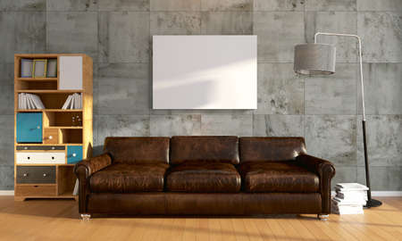 old furniture: Bright interior  in a modern style . 3D rendering