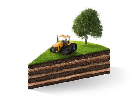 3d illustration de section de terrain avec de l'herbe isolé sur blanc. rendu 3D