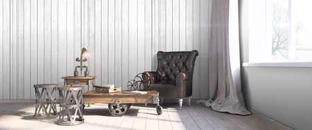 Bright interior in a modern style . 3D render Reklamní fotografie - 62899670