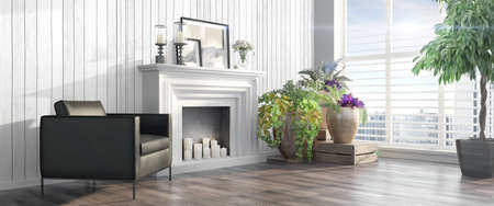 Bright interior with fireplace in a modern style . 3D render Stock Photo