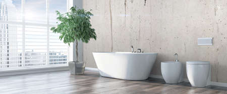 Bright interior with bath in a modern style . 3D render