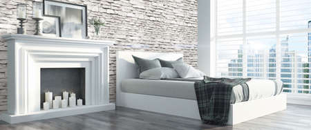 clean home: Bright interior with fireplace in a modern style . 3D render Stock Photo