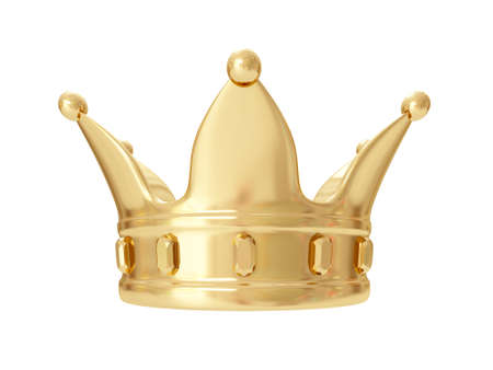 luxuriance: A kings golden crown on a white background. 3D rendering Stock Photo