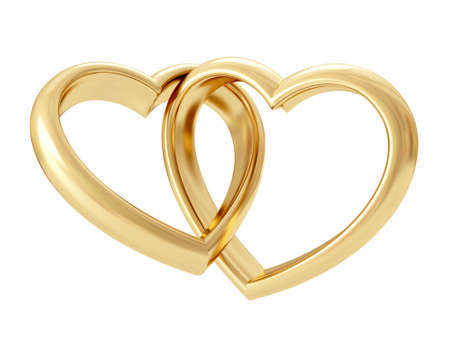 Gold heart shaped rings attached to each other. 3D rendering