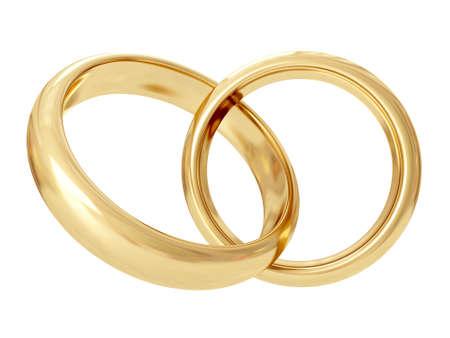 A pair of gold wedding rings. 3D rendering