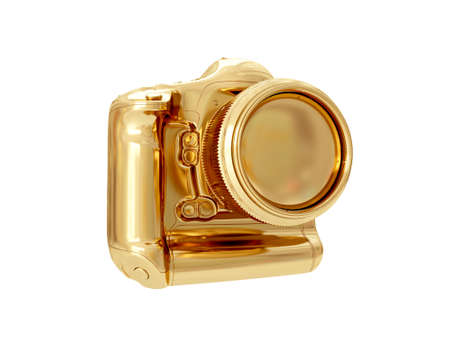 viewfinder vintage: Golden camera isolated on white background. 3D rendering