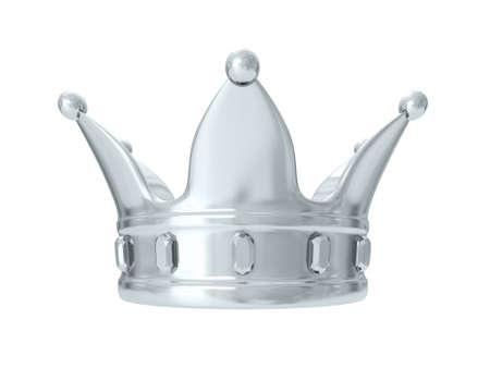 luxuriance: A kings silver crown on a white background. 3D rendering