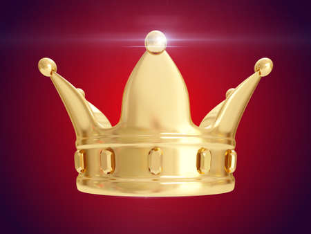 A kings golden crown on a red background. 3D rendering