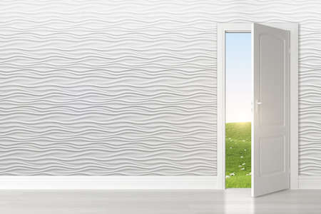 Loft vazio interior e piso de madeira. Renderização 3D