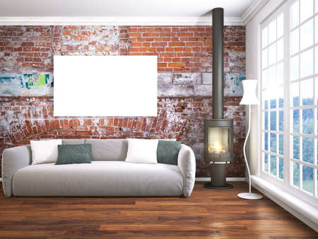 Bright interior with empty frame. 3D rendering