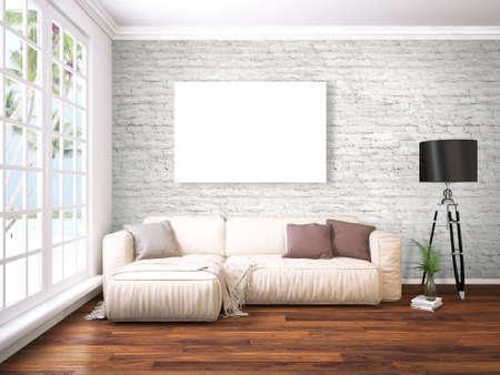 3d lightning: Bright interior with empty frame. 3D rendering