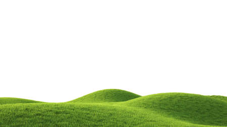 isolated on green: Perfect summer green grass field. 3D rendering