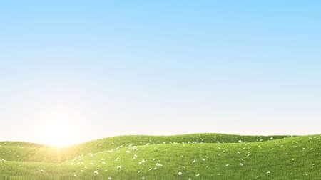 rendering: Perfect summer green grass field. 3D rendering