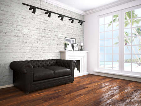 modern sofa: Beautiful modern interior with sofa. 3D rendering