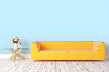ソファと美しいモダンなインテリア。3 D レンダリング 写真素材
