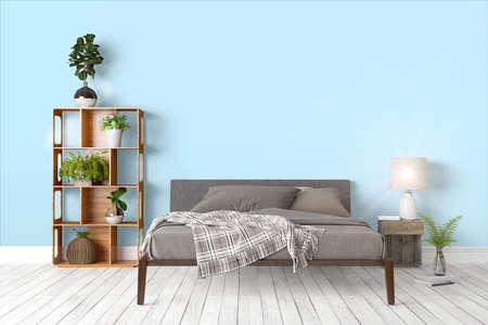 ベッドで美しいモダンなインテリア。3 D レンダリング 写真素材