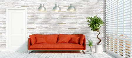 view of an elegant red couch: Beautiful modern interior with sofa. 3D rendering