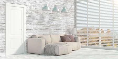 rendering: Beautiful modern interior with sofa. 3D rendering