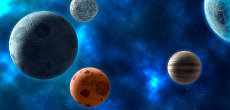 nebulae: Planets over the nebulae in space. 3D rendering Stock Photo
