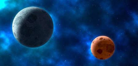 milkyway: Planets over the nebulae in space. 3D rendering Stock Photo